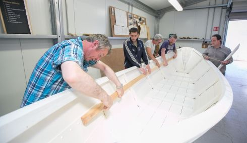 Joe O'Neill, John Paul Sheehan, Pat Kelly, Jim McInerney & James Maddigan working on a boat at the AK ILEN Wooden Boat Building School in Limerick. Photograph: Brian Gavin Press 22