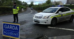 The Garda checkpoint on the Rathmullan to Portsalon Road in Co Donegal which was closed  following the fatal crash. Photograph: David Sleator/The Irish Times.