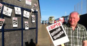 The picket outside the Broadstone bus garage this morning.