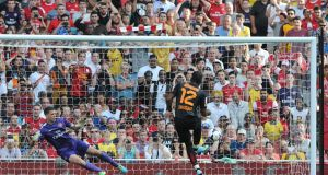 Galatasaray's Didier Drogba scores his teams first goal of the game from the penalty spot during the Emirates Cup 2013 match at the Emirates Stadium Photograph: PA Wire.