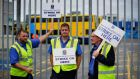 Striking bus drivers pictured outside Dublin Bus Ringsend Garage in Dublin City. Pickets have been placed on all Dublin bus garages in the city.Photograph: Aidan Crawley