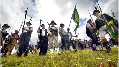 The Irish Rebellions, Pike Men ready for battle against the red Coats (British Army) during the re-enactment of the Battle of Vinegar Hill, which took place during the Irish Rebellion of 1798 in  Enniscorthy Co Wexford. Photograph: Brenda Fitzsimons/The Irish Times