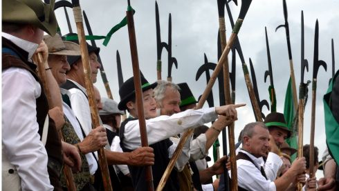 Rebellions, Pike Men ready for battle against the Red Coats. Photograph: Brenda Fitzsimons/The Irish Times