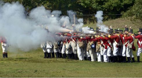 Red Coats (British Army) open fire on the Rebellions. Photograph: Brenda Fitzsimons/The Irish Times