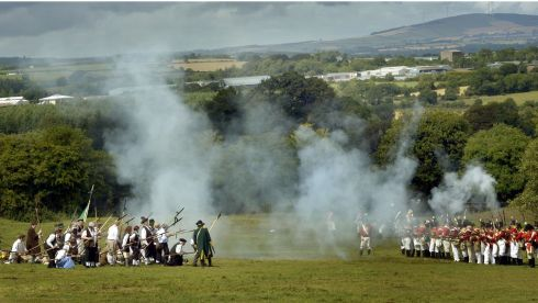 Rebellions, Pike Men face  the Red Coats during the re-enactment of the Battle of Vinegar Hill. Photograph: Brenda Fitzsimons/The Irish Times