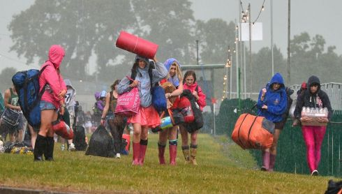 Campers  arriving to Punchestown, Co Kildare  on Friday for the start of the three-day Oxegen Music festival.  Photograph: Alan Betson/The Irish Times
