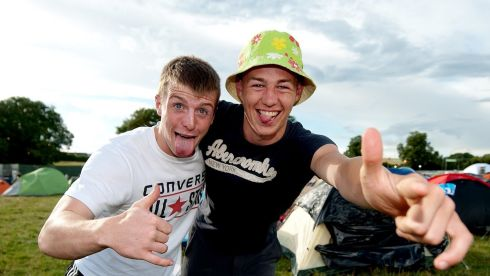 Ian Moran and Nevin Rossiter from Wexford at the campsite on Friday,  the first day of Oxegen 2013  at Punchestown Racecourse, Co Kildare. Photograph:  Collins Photos