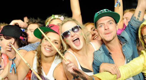 Cara Cottam, Nicole Gleeson and Sean Og Maguire from Tipperary enjoy Calvin Harris's performance at Oxegen. Photograph: Patrick O'Leary