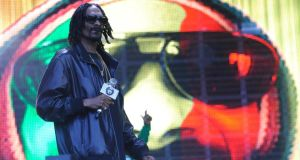 Snoop Dogg on the main stage at Oxegen last night. Photograph: Patrick O'Leary