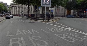 An  empty bus lane at College Green in  Dublin city centre today. Photograph: Eric Luke/The Irish Times