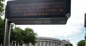 An electronic sign at College Green indicating the cessation of  services due to strike action at Dublin Bus. Photograph: Eric Luke/The Irish Times