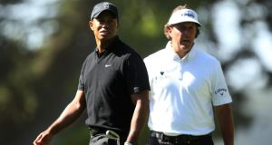 Main contenders: Following their recent respective victories,Tiger Woods and Phil Mickelson will expect to be in contention at the USPGA this week at Oak Hill. Photo:  Ezra Shaw/Getty Images