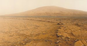 A panorama of images taken by Nasa's Curiosity rover in an undated photo. The rover is slowly making its way to Mount Sharp, a Martian mountain whose rocks could provide clues on whether the planet was ever habitable. Photographs by NASA