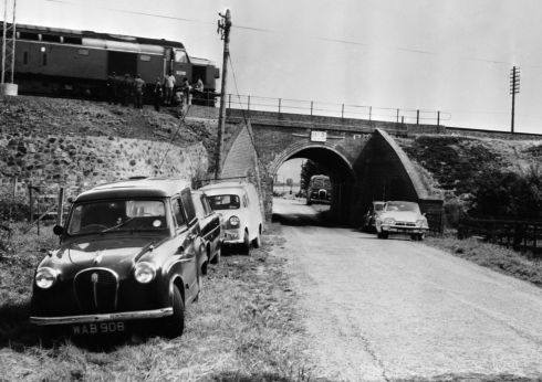 The Mail Train which was stopped on a bridge during 'The Great Train Robbery' so that it could be unloaded.  (Photo by Keystone/Getty Images)