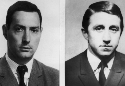 Photos issued by Scotland Yard, 27th August 1963, of great train robbers Bruce Reynolds (left) and Roy James in the aftermath of the 2.6 million pound train robbery committed on 8th August 1963. (Photo by Keystone/Hulton Archive/Getty Images)