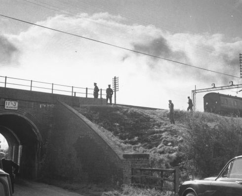 16th August 1963:  Police at the scene of the Great Train Robbery: Sears Crossing.  (Photo by Evening Standard/Getty Images)