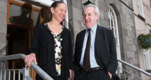 Meg Harper, director of the Yeats Summer School, and author John Banville. Photograph: James Connolly