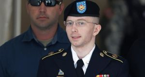 US army private  Bradley Manning departing the courthouse at Fort Meade, Maryland  last week.  Photograph:  Reuters/Gary Cameron