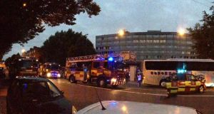 The Burlington hotel in Dublin  which was evacuated this morning because of a fire. Photograph: Newstalk