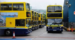 Buses lparked up in Conyngham Road Garage in Dublin city. Photograph: Aidan Crawley/The Irish Times