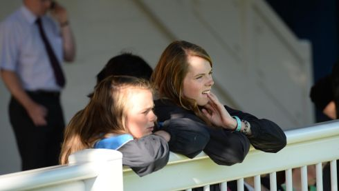 Georgia and Emily Nelson from Skerries, Co Dublin, watch the action at the Dublin Horse Show.