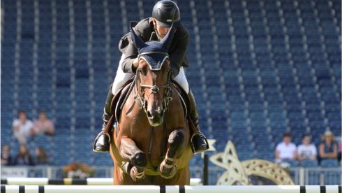Irish rider Dermott Lennon on Loughview Lou-Lou during the Speed Stakes International Competition.