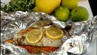 Sea bass with marjoram and lemon; and chicken escalopes with Italian bean, tomato and and basil salad. Photographs: Brenda Fitzsimons
