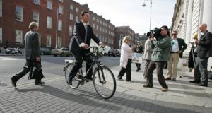 Green Party leader Eamon Ryan in september 2010,  when he was minister for communications, energy and natural resources, arriving at Government Buildings for a cabinet meeting. Photograph: Frank Miller