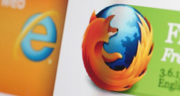"Microsoft' Explorer logo (left)  next to Mozilla's Firefox logo. ""It's the search function that still astonishes, if you take a moment to think about it."" Photograph: Chris Ratcliffe/Bloomberg"