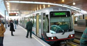 Computer-generated image of what Metro North arriving at Swords Station could have looked like.