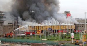 Jomo Kenyatta International Airport, as it goes up in flames, in Kenya's capital Nairobi yesterday. Photograph: Stringer/Reuters