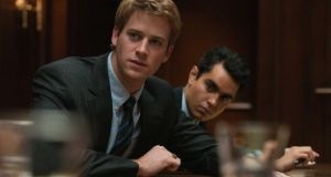 "Armie Hammer, left, and Max Minghella in Columbia Pictures' ""The Social Network,"" starring Jesse Eisenberg, Andrew Garfield and Justin Timberlake."