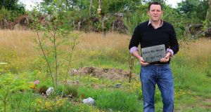 Colin McAteer, Woodbrook Natural Burial Grounds, Killane, Co Wexford with his own headstone. Picture: Patrick Browne