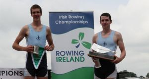 Andy Harrington and Jack Casey will compete for Ireland in the men's double scull quarter-final today at the World Junior Championships at Trakai in Lithuania.