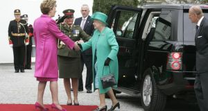 "Britain's Queen Elizabeth  meeting then president Mary McAleese  at Áras an Uachtaráin in May 2011. ""Relations between the two states have never been better, a closeness symbolised by the queen's hugely successful visit.""   Photograph: Dara Mac Dónaill"