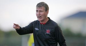 Dundalk manager Stephen Kenny has seen his side close the gap on current leaders St Patrick's Athletic to just one point in advance of tonight's series of games. Dundalk visit Shelbourne while St Pat's face Shamrock Rovers in a big Dublin derby clash at Tallaght. Photograph: Morgan Treacy/Inpho