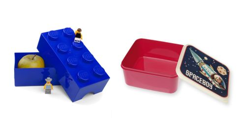 Lego brick lunchbox, €3.22, Debenhams Spaceboy lunchbox, €11.46, dotcomgiftshop.com