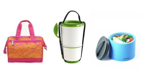 Sachi insulated lunch tote, €27.84 (shipping incl.), amazon.com Stackable lunch pot, €20, Designist, Georges St. Dublin Aladdin bento box, €18.99, The Great Outdoors.
