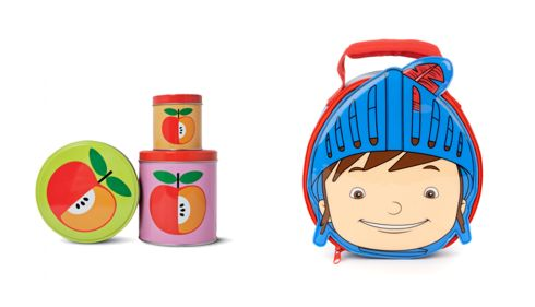 Apple tins, €5, Tiger, Nassau St. Dublin Mike the Knight lunchbox, €13.50, Marks and Spencers.
