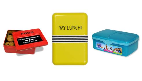 Emergency food tin, €19.10 (shipping incl.), justmustard.com Yay lunchbox, €15.47 (shipping incl.), bloomsburystore.com Sistema lunch box, €11.95, Stock design, Sth King St. Dublin