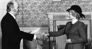 US ambassador to Ireland Margaret Heckler presents her credentials to president Patrick Hillery at Áras an Uachtaráin in January 1986. Photograph: Pat Langan