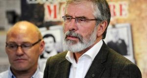 Sinn Féin president Gerry Adams said yesterday he knew no more about the circumstances of Brian Stack's killing than what was contained in the IRA statement to the Stack family. Photograph: Colm Lenaghan/Pacemaker