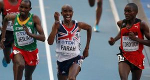 Mo Farah  wins the men's 10,000 metres at the Luzhniki Stadium in Moscow. Photograph: Phil Noble/Reuters