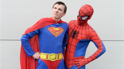 Stuart Fitzgerald, (Superman) and Callan Gilsenan, (Spiderman) both from Castleknock, at the Dublin Comic Con, which took place in Swords, Co. Dublin at the weekend. Photo: Dara Mac Donaill / THE IRISH TIMES