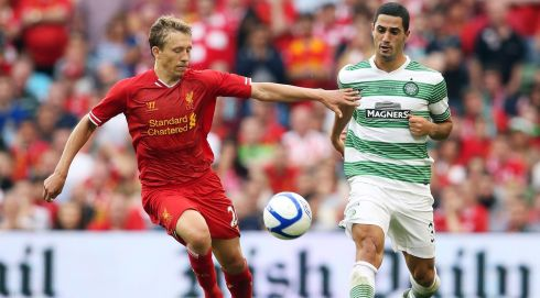Liverpool's Lucas Leiva and Beram Kayal of Celtic Photo : INPHO/Cathal Noonan