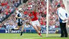 Cork's Patrick Horgan celebrates scoring his late goal against Dublin at Croke Park.  Photograph: Colm O'Neill/Inpho