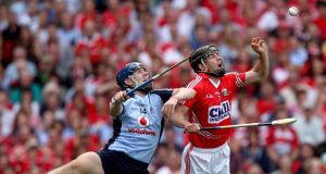 Dublin's Paul Ryan and Shane O'Neill of Cork during the semi-final at Croke Park.
