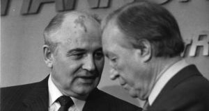 Mikhail  Gorbachev and Charles Haughey after their  meeting  at Shannon airport. Photograph: Paddy Whelan