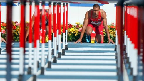 Ashton Eaton of the US looks down his lane before the start of the men's decathlon 110 metres hurdles event. Photograph:  Lucy Nicholson/Reuters