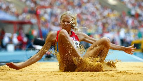 Darya Klishina of Russia competes during the women's long jump. Photograph: Dominic Ebenbichler/Reuters